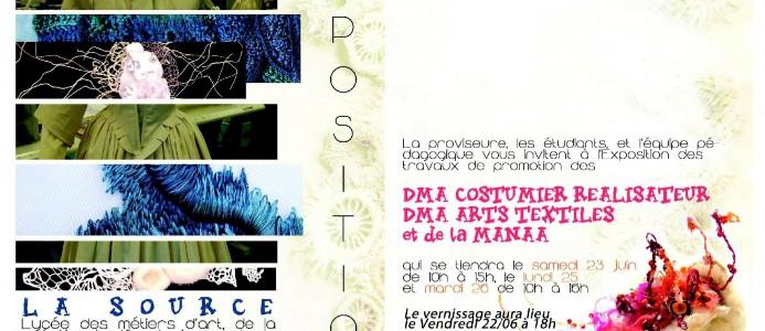 Exposition des travaux de promotion des DMA costumier réalisateur, DMA arts textiles et MANAA