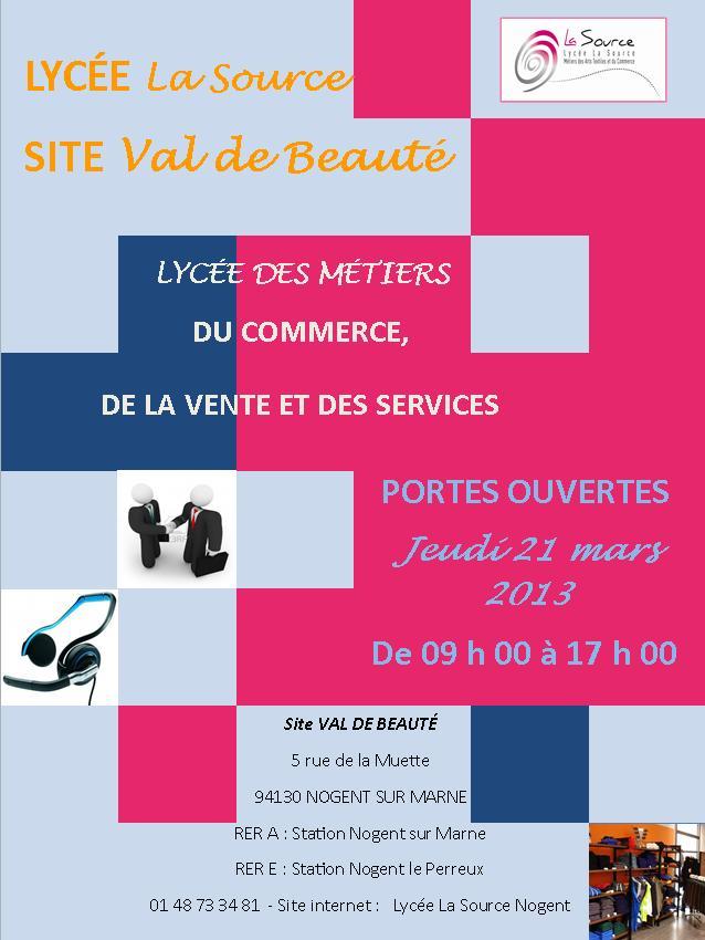 Journées Portes Ouvertes au Lycée de Val de Beauté le jeudi 21 mars 2013 de 9h à 17h